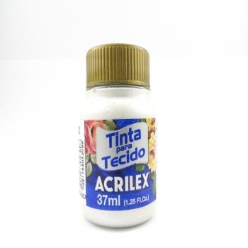 TINTA TECIDO METALICA ACRILEX 37 ML 562 BRANCO